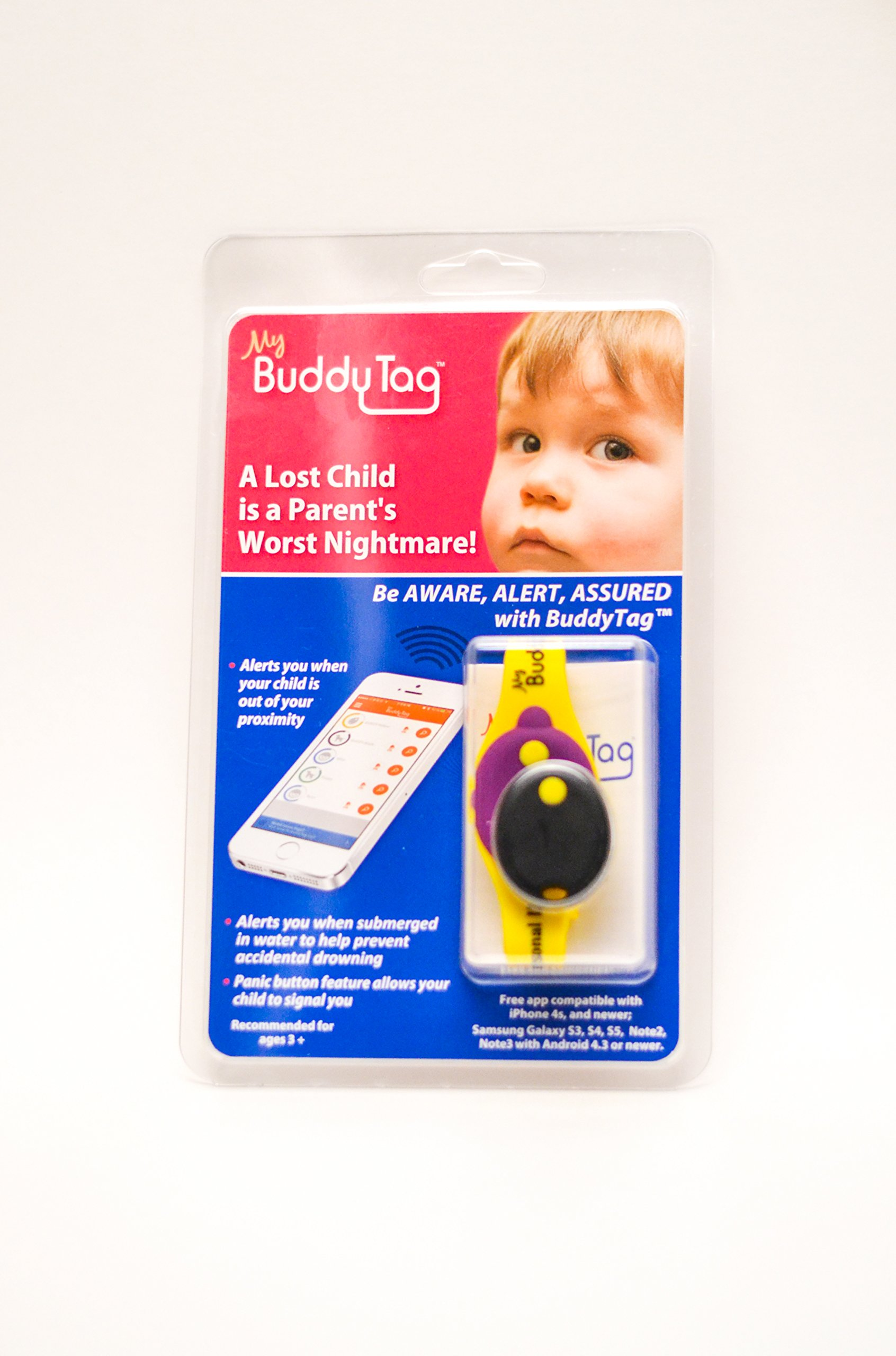My Buddy Tag with Silicone Wristband, Yellow by My Buddy Tag (Image #3)
