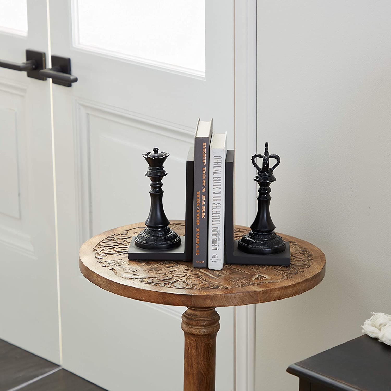 Deco 79 44754 Polystone King and Queen Chess Bookend Pair, 5
