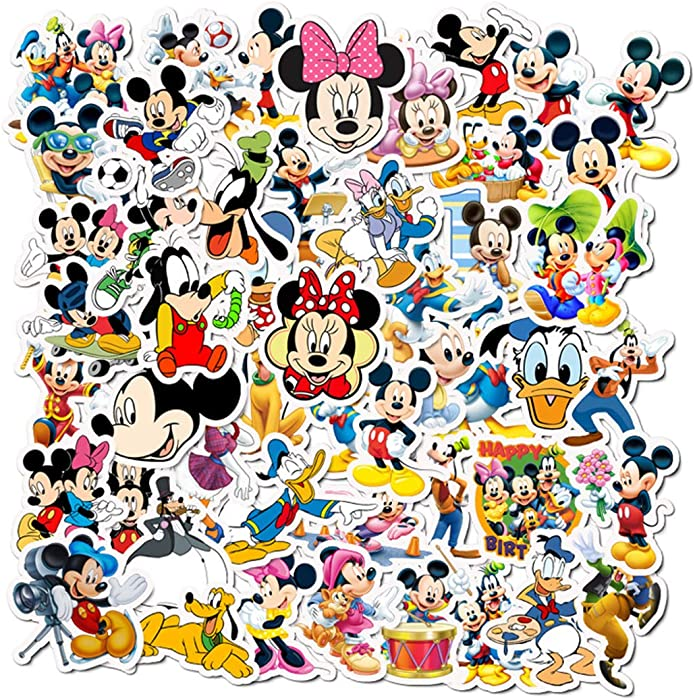 50Pcs Hot Disney Mickey Mouse Donald Duck Stickers for Water Bottle Cup Laptop Guitar Car Motorcycle Bike Skateboard Luggage Box Vinyl Waterproof Graffiti Patches JHSL