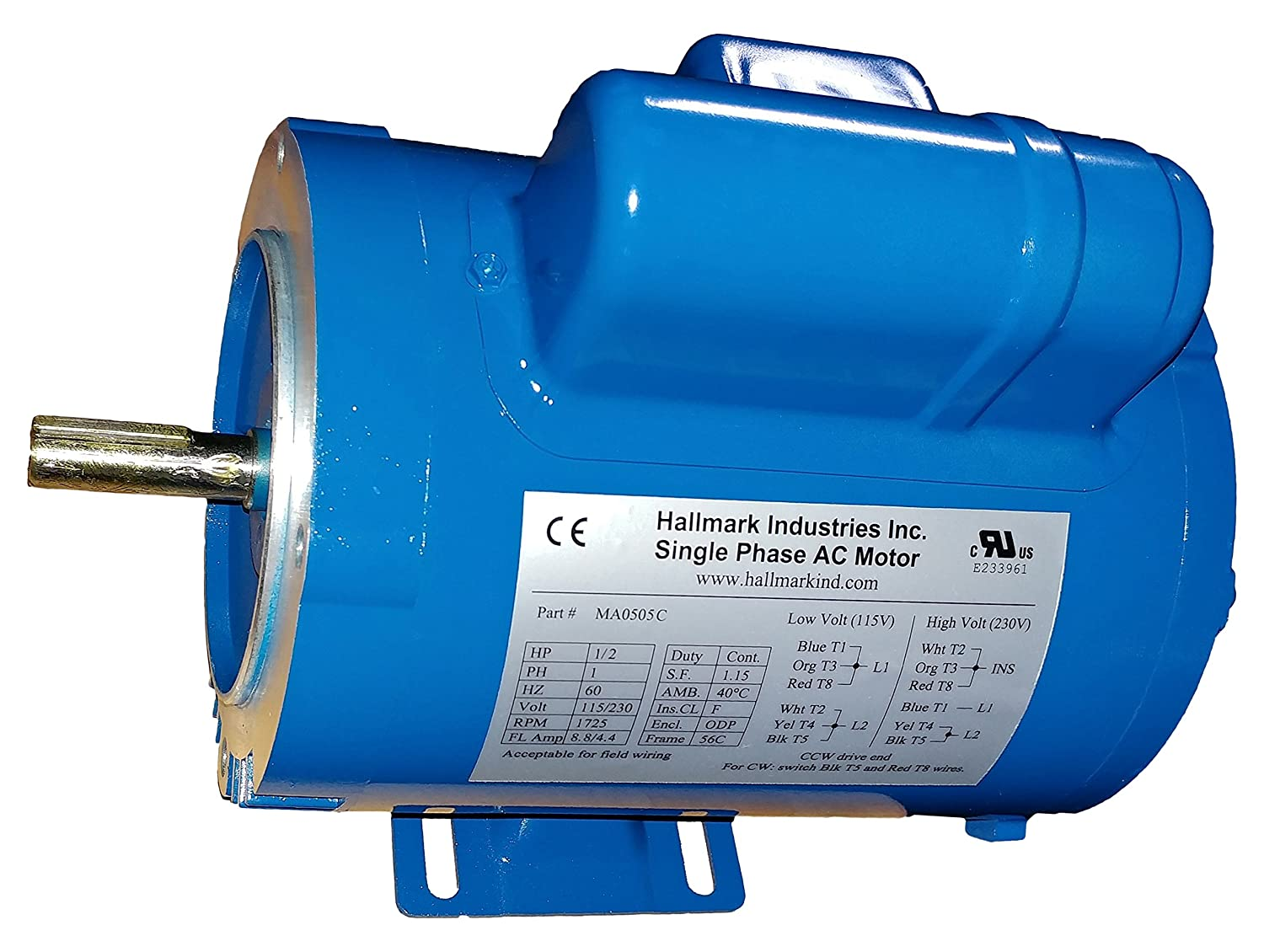Hallmark Industries MA0505C AC Motor, 1/2 hp, 1725 RPM, 1PH/60 hz, 115/208-230V AC, 56C/ODP, Cap Start, with Foot, SF 1.15, Steel (Pack of 1)