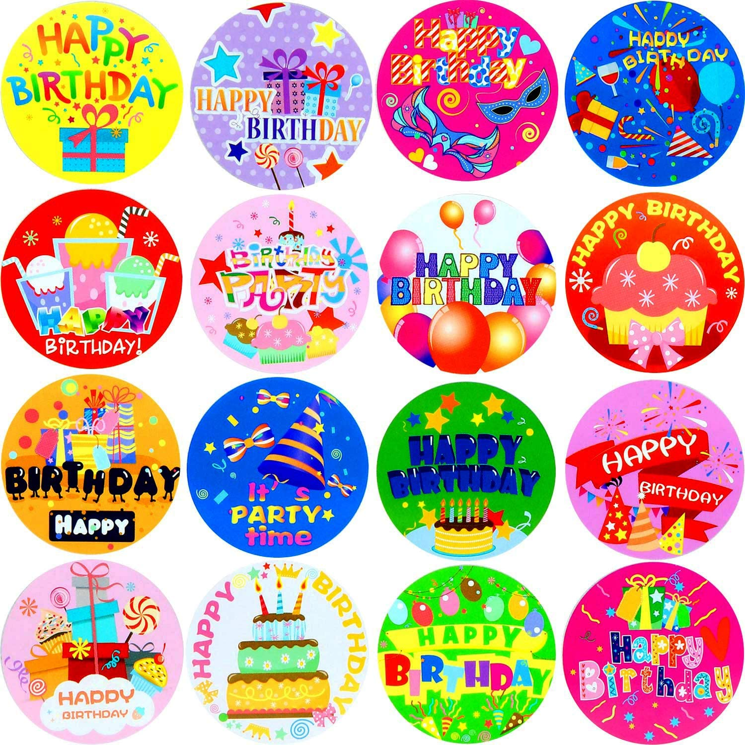 58 x 7.5 Kraft Paper Sticker with Happy Birthday Personalized Design Set of 10 Stickers Customized Foiled Party Favor Labels