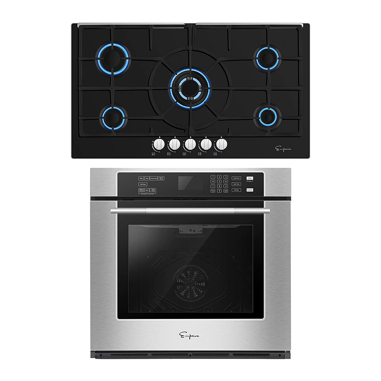 Empava 30 Inch Electric Single Wall Oven with Self-cleaning Convection Fan and 36 Inch Gas Cooktop Stove LPG/NG Convertible with 5 Italy SABAF Burners in Tempered Glass