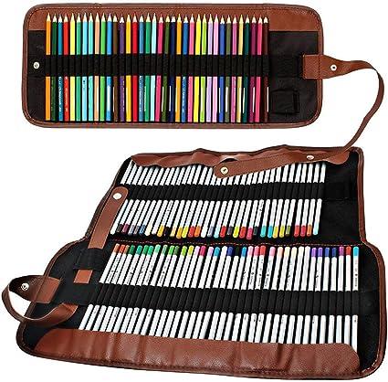 inherited Estuches enrollable de lápiz, 48 Ranuras+ 72 Ranuras estuche portalápices de lona, organizador para arte, Estuche arte de bolso de lona de enrollable para guardar lapices de colores: Amazon.es: Oficina y
