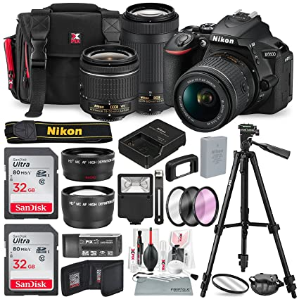 Nikon D5600 DSLR Camera with NIKKOR 18-55mm + 70-300mm Lenses W/ Total of  48 GB SD CARD, Telephoto & Wideangle Lens, Xpix Lens Handling Accessories