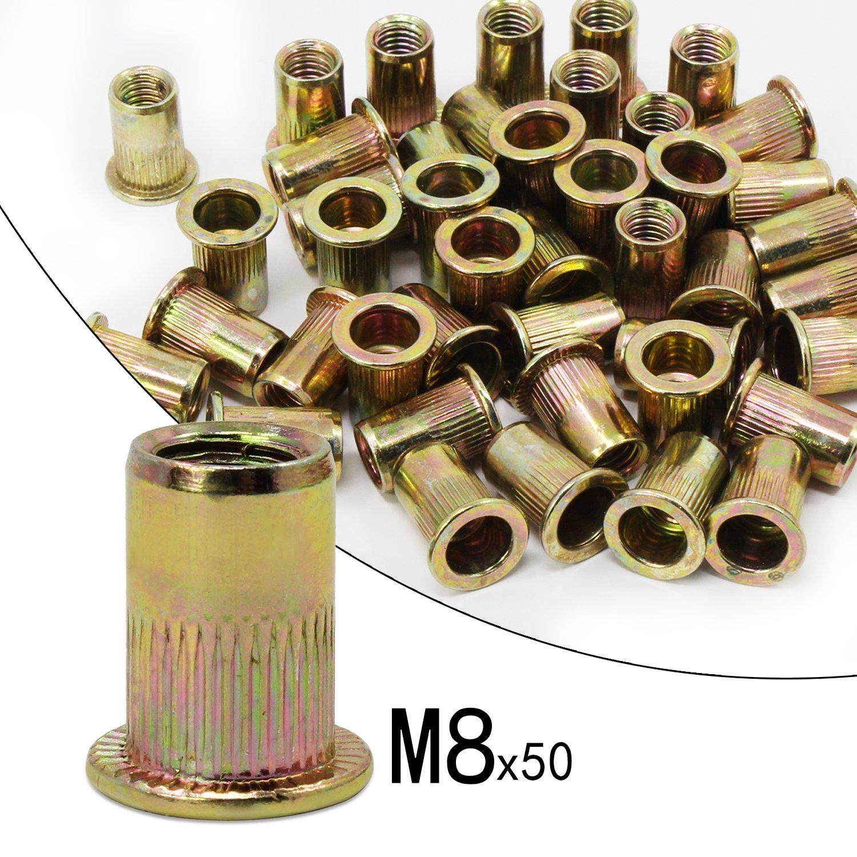 5Size Carbon Steel-165pcs OCR Zinc Plated Carbon Steel Rivet Nut Flat Head Threaded Rivet Nutsert Cap Assortment M3 M4 M5 M6 M8 M10 M12 150PCS