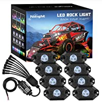 Nilight RGB LED Rock Lights Kit 8 pods Underglow Multicolor Neon Light Pod with Bluetooth App Control Timing Function…
