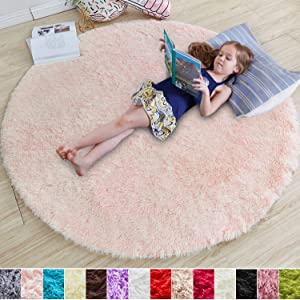 Pink Round Rug for Bedroom,Fluffy Circle Rug 4'X4' for Kids Room,Furry Carpet for Teen Girls Room,Shaggy Throw Rug for Nursery Room,Fuzzy Plush Rug for Dorm,Pink Carpet,Cute Room Decor for Baby