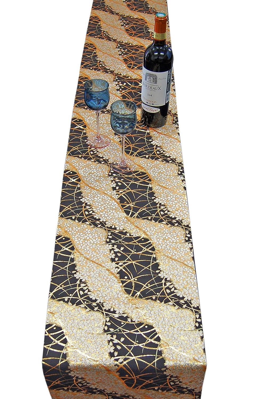 SHINSENDO Kimono Table Runner 180 x 30 cm (About 70.8 x 11.8 inch) Gold Black Pattern Name Miyabi(Cherry Blossom) 9401