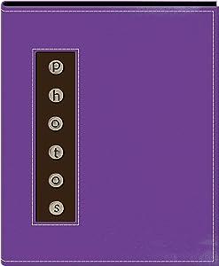 Pioneer Metal Button Photo Sewn Leatherette Cover Brag Album, Purple