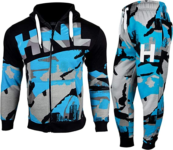 shelikes Boys Tracksuit Hooded HNL Camouflage Track Suits for Exercise Gym Casual Sportswear Jogging