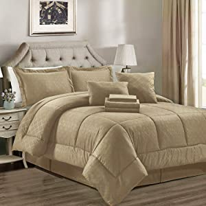 JML Comforter Set, 8 Piece Microfiber Bedding Comforter Sets with Shams - Luxury Solid Color Quilted Embroidered Pattern, Perfect for Any Bed Room or Guest Room (Taupe, Twin)