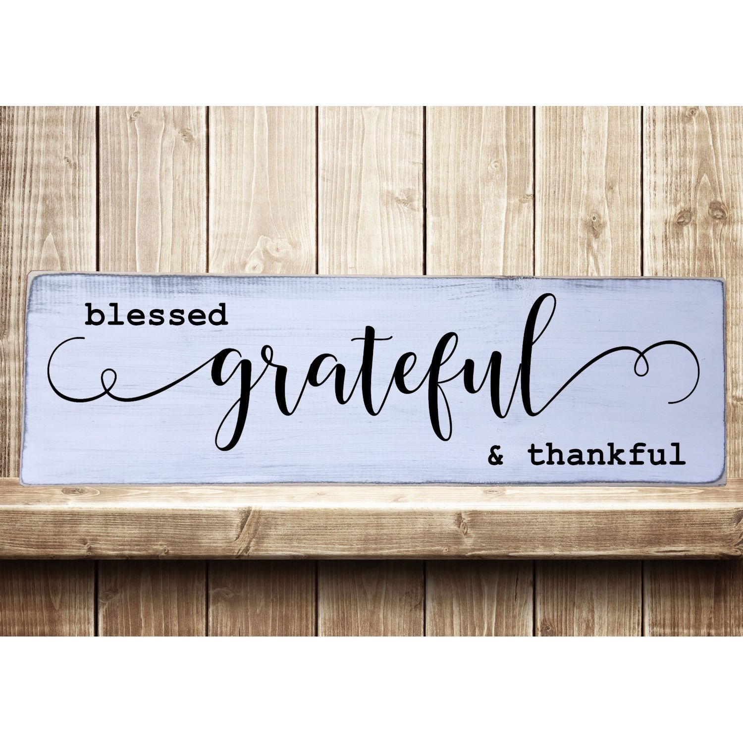 Wall Sign Plaque Decor Rustic Wood Thankful Grateful Blessed Farmhouse Gift New