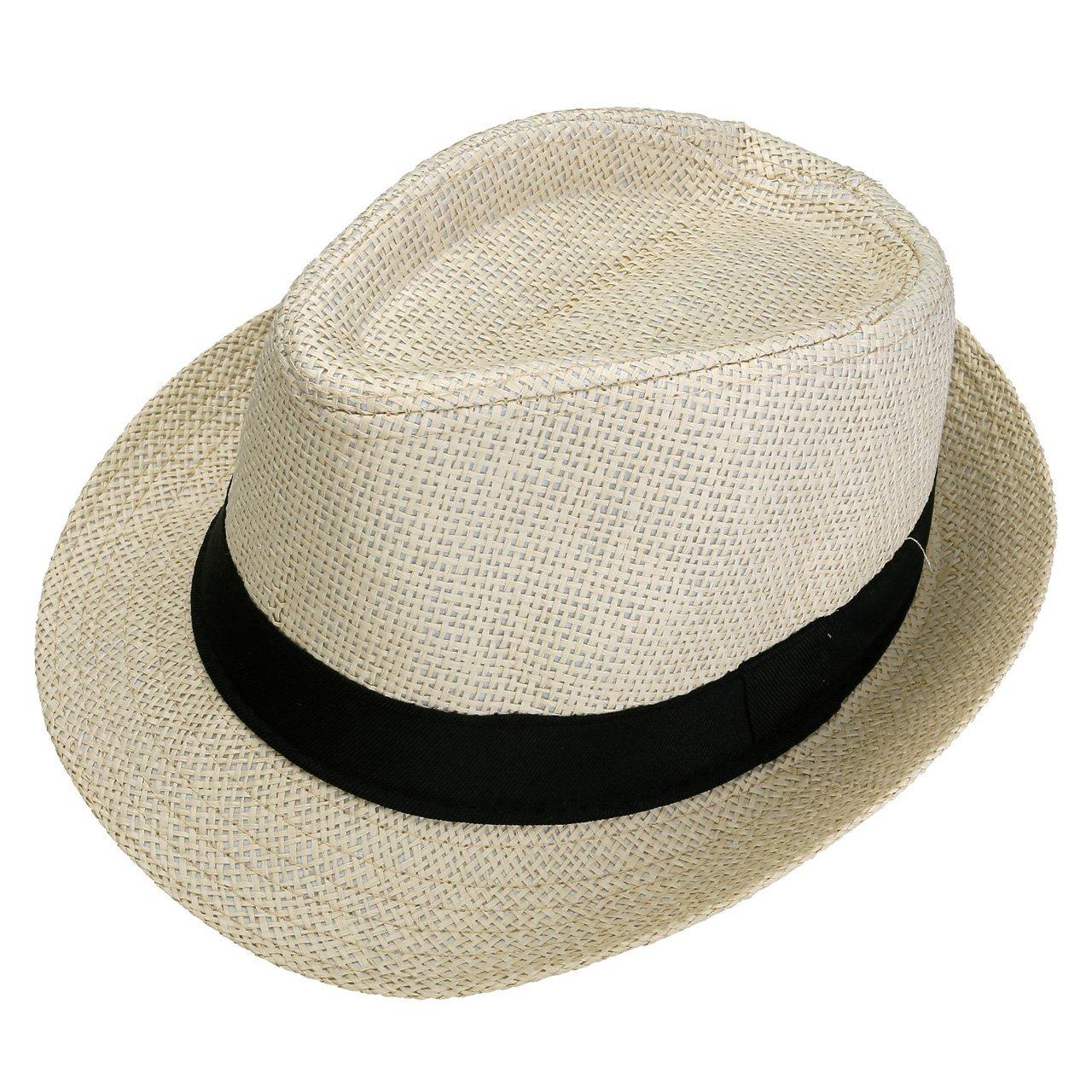 5edb01ed Online Cheap wholesale Faleto Unisex Summer Panama Straw Fedora Hat Short  Brim Beach Sun Cap Classic Sun Hats Suppliers