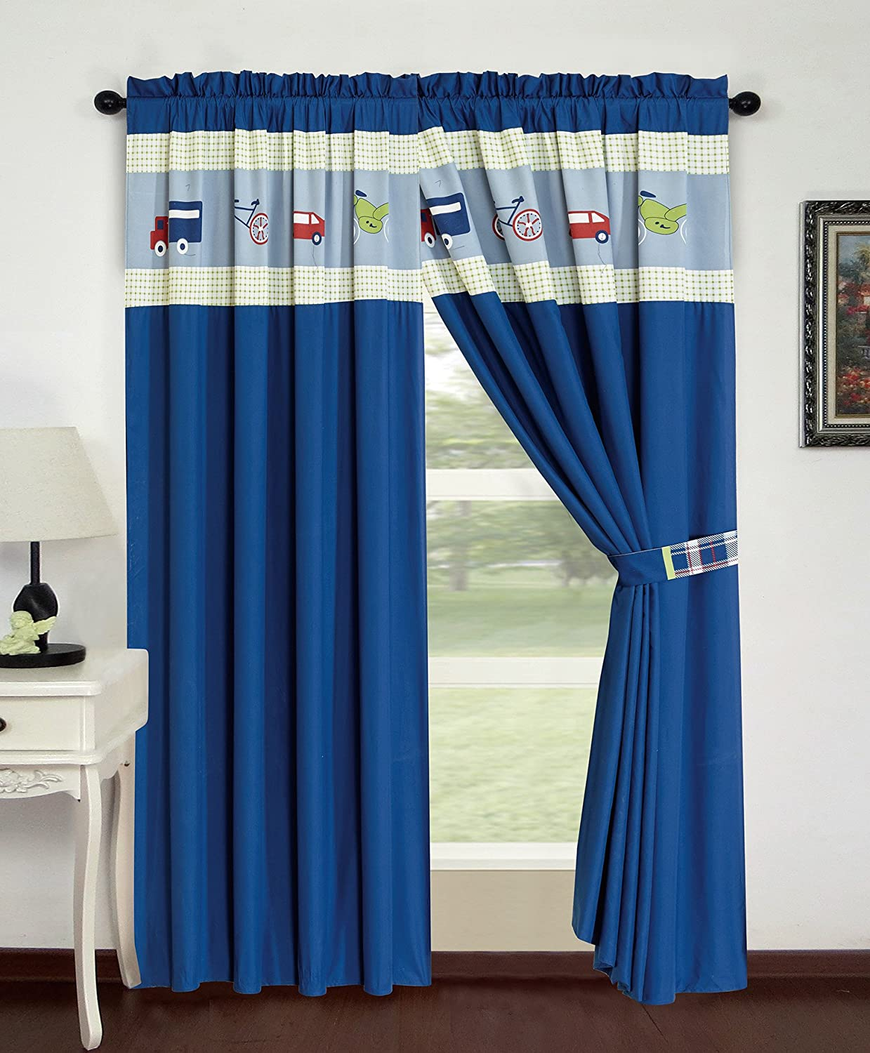 All American Collection 4 Piece Auto's Curtain Set with Attached Sheer Backing Curtain Set, Navy