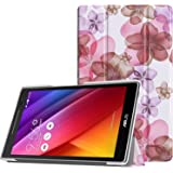 MoKo ASUS ZenPad 8.0 Z380M Case - Slim Lightweight Smart Shell Stand Cover with Auto Wake / Sleep Function for 2015 ASUS ZenPad Z380M / Z380C / Z380KL 8.0 8-Inch Tablet, Floral PURPLE