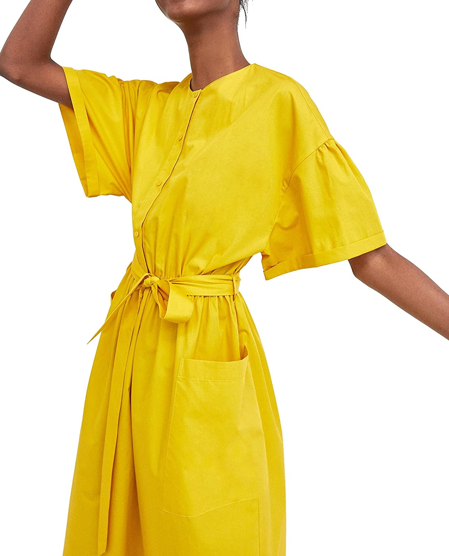 Zara Women Midi Dress With Belt 7563/045 at Amazon Womens Clothing store: