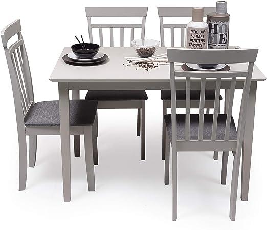 Conjunto de Comedor Kansas Gray Mesa de Comedor de Madera lacada en Gris de 112x72 cm y 4 sillas de Comedor de Madera lacadas en Gris y Asiento