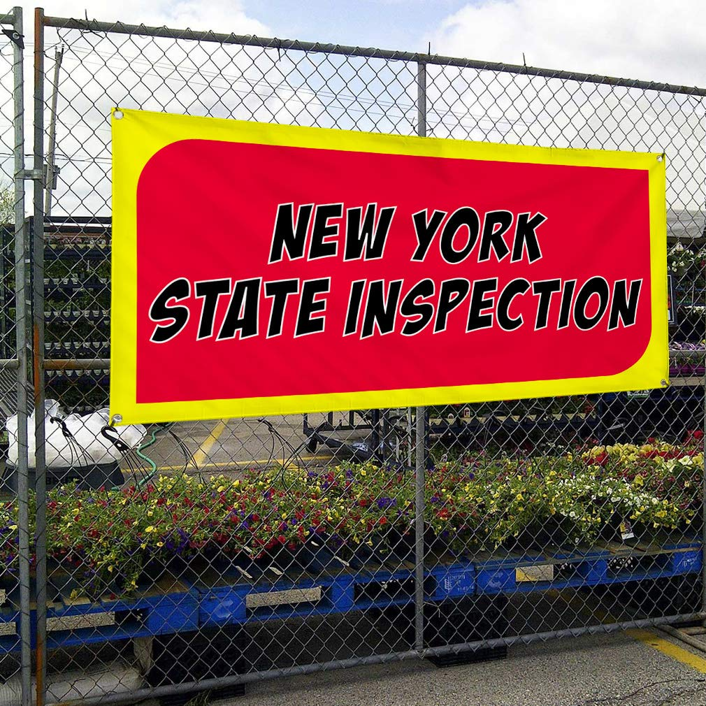 4 Grommets Vinyl Banner Sign New York State Inspection Business Outdoor Marketing Advertising Red 28inx70in Set of 2 Multiple Sizes Available