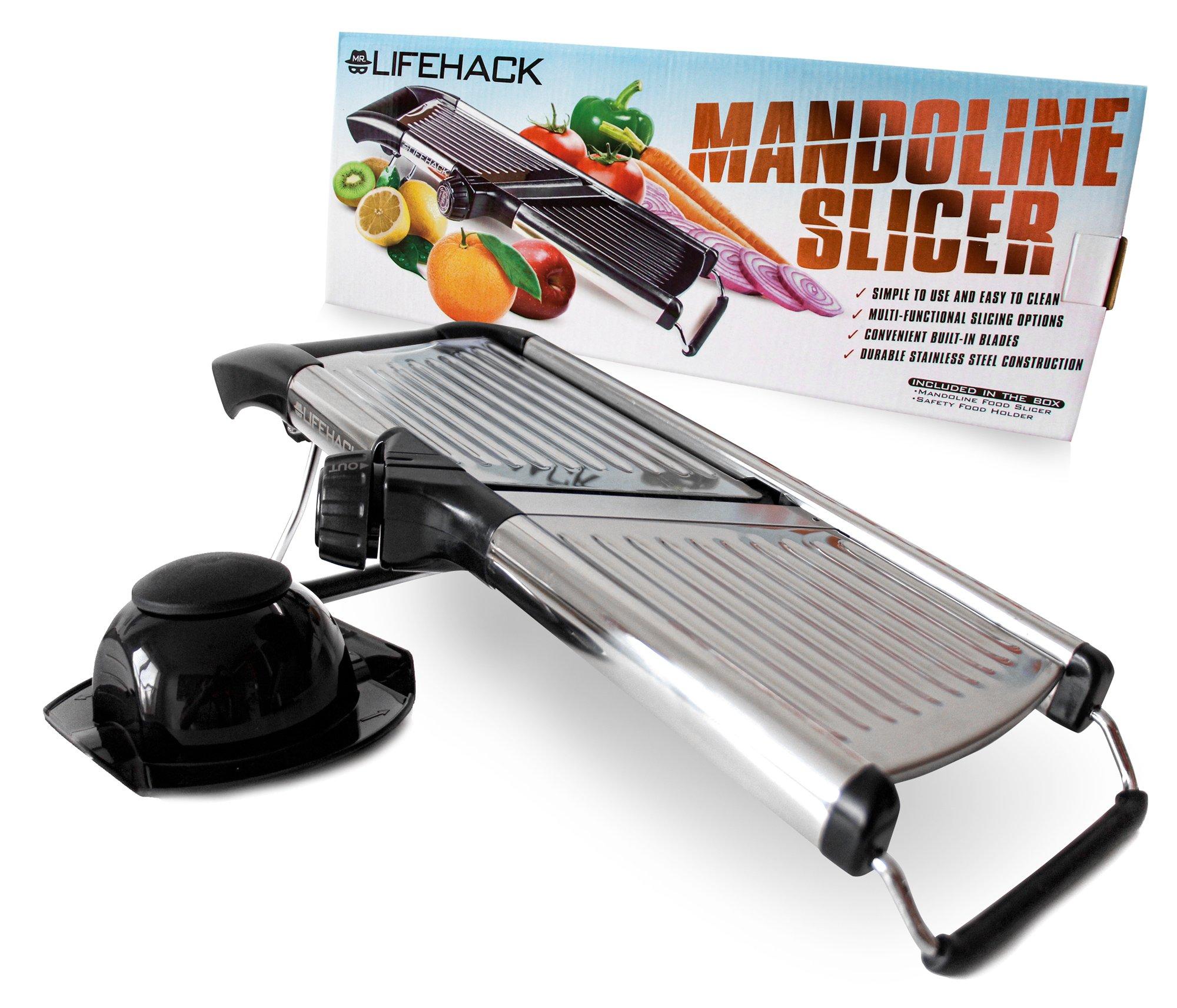 Mandoline Slicer By Mrlifehack - Stainless Steel Food Slicer With Adjustable Julienne Blade System - Best Fruit & Vegetable Cutter