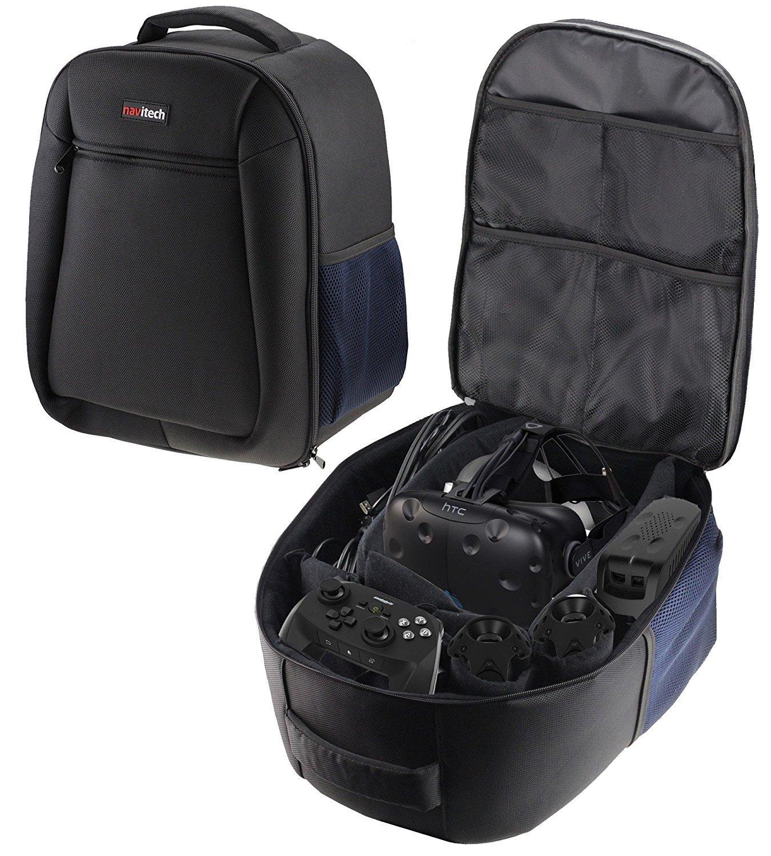 Navitech Rugged Black & Blue Backpack/Rucksack/Case/Cover For The DESTEK V4 VR, 103°FOV, Eye Protected HD Virtual Reality Headset