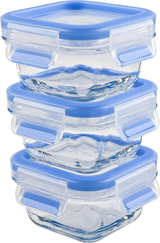 Emsa Clip /& Close Set de 3 Conservadores Herm/ético de Cristal de borosilicato de 0,2 L 0.2 L Transparente//Azul no retiene olores ni sabores 100/% Libre de BPA higi/énico