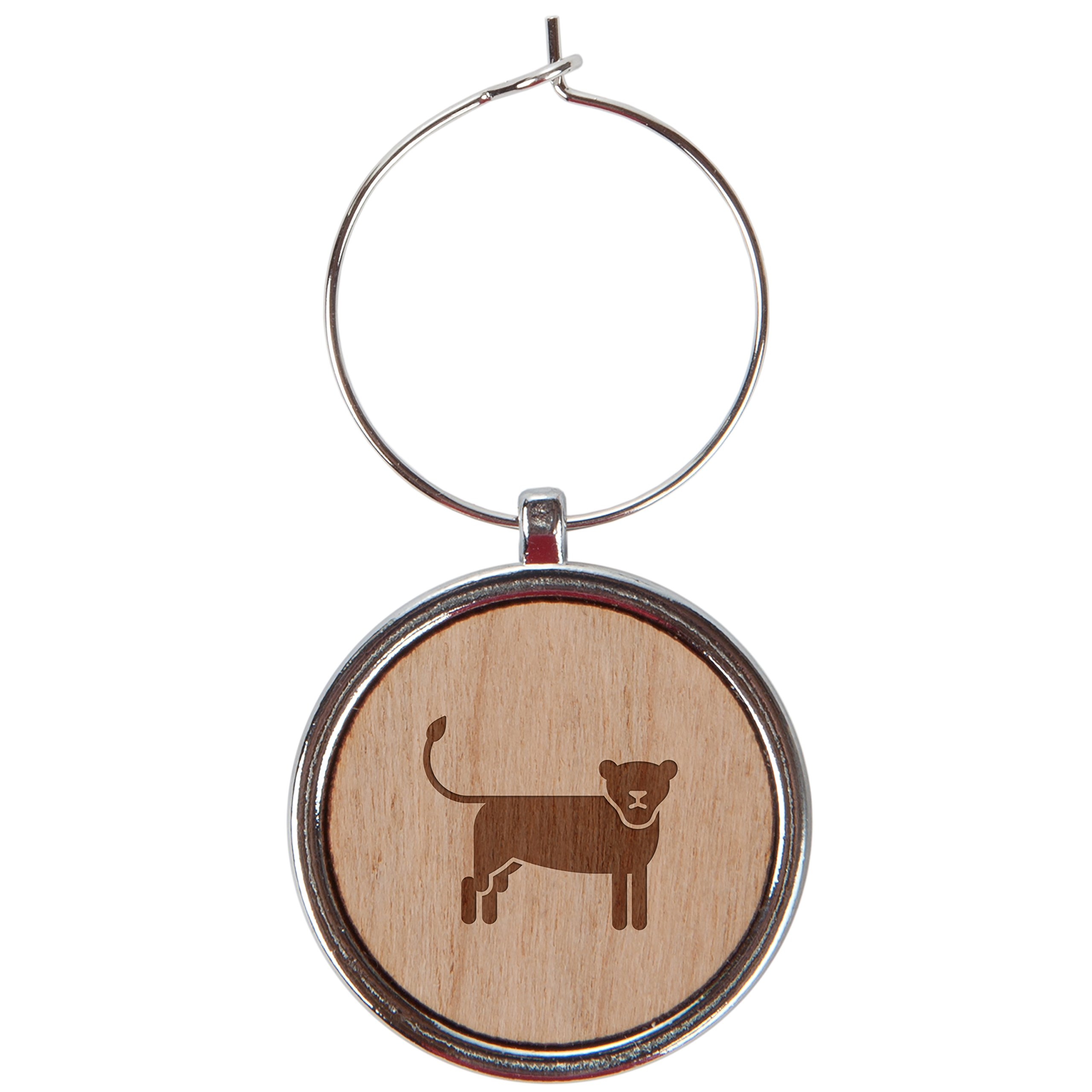 Lioness Wood Wine Glass Charms Set Of 6-1 Inch Laser Engraved Wine Glass Charms For Stemmed Wine Glasses - Wine Glass Charm Gift