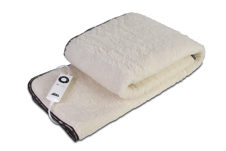 Solis Wärmedecke, Wolle und Merino, 6 Temperaturstufen, Ausschalt-Timer, Sensotherm Bettwärmer (Typ 538), Weiß
