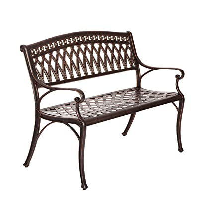 Awesome Amazon Com Antique Bronze Cast Aluminum Garden Bench Pabps2019 Chair Design Images Pabps2019Com