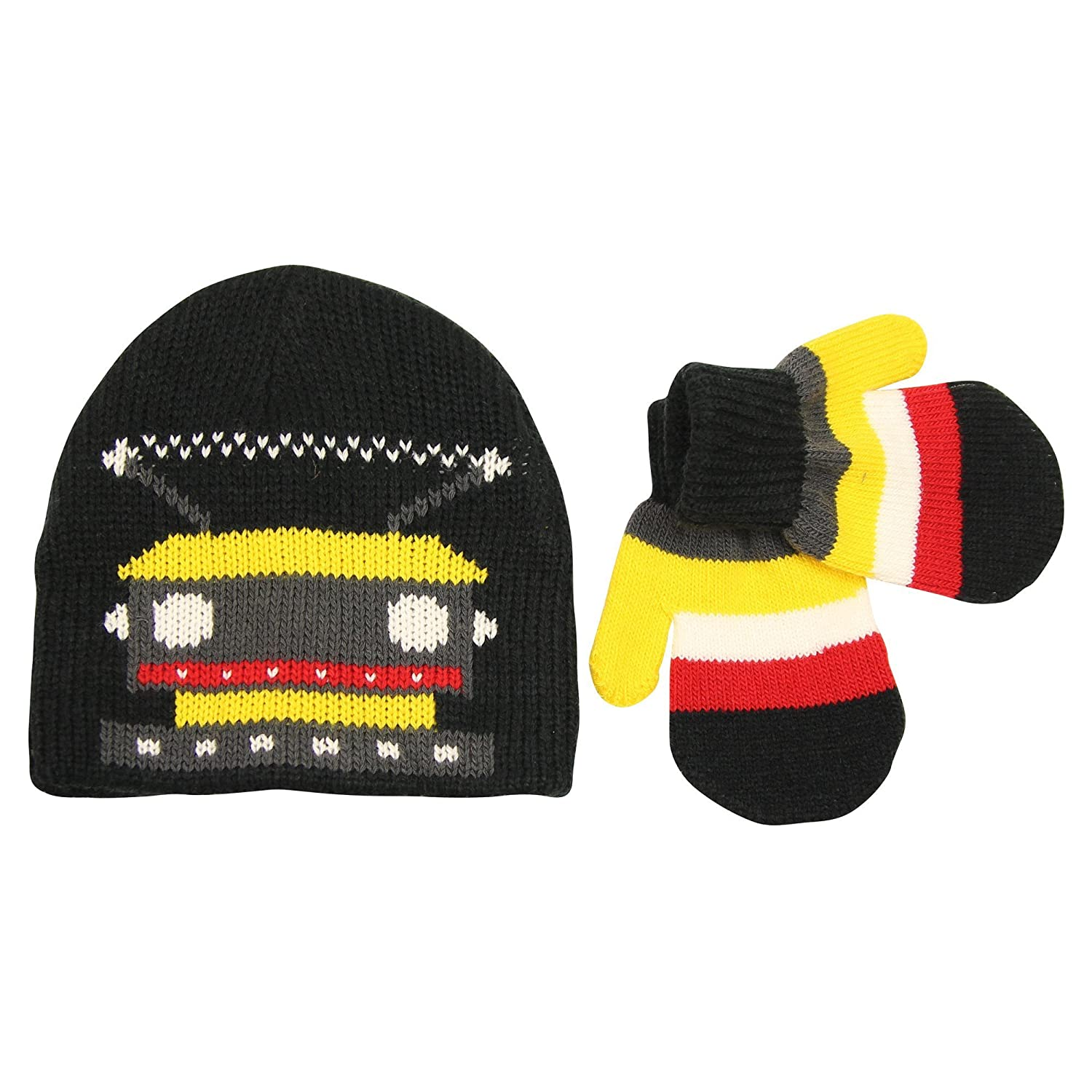Amazon.com  Infant Toddler Boy s Robot Winter Hat and Mitten Set (Ages 2  and under) (Black)  Clothing 41d0dcef850