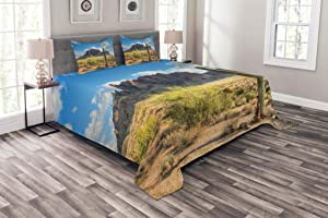Ambesonne Saguaro Bedspread, Famous Canyon Cliff with Dramatic Cloudy Sky Southwest Terrain Place Nature, Decorative Quilted 3 Piece Coverlet Set with 2 Pillow Shams, Queen Size, Camel Green