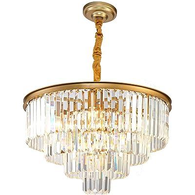 Buy Gold Modern Crystal Chandelier Lighting K9 Crystal Round Chandelier Hanging Ceiling Light Fixture 4 Tier Contemporary Crystal Pendant Light For Dining Room Living Room Bedroom 23 6inch Online In Turkey B091yqghf1