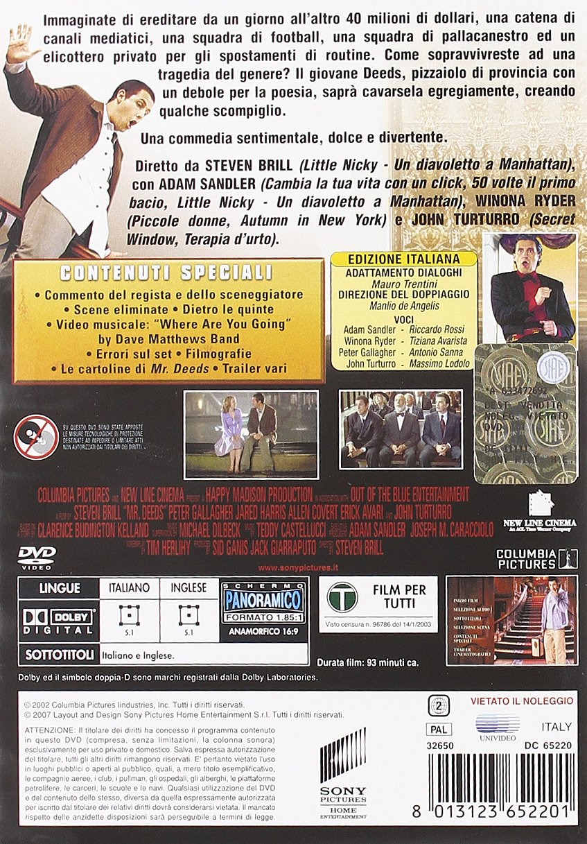 Mr Deeds Amazon Winona Ryder Adam Sandler John Turturro
