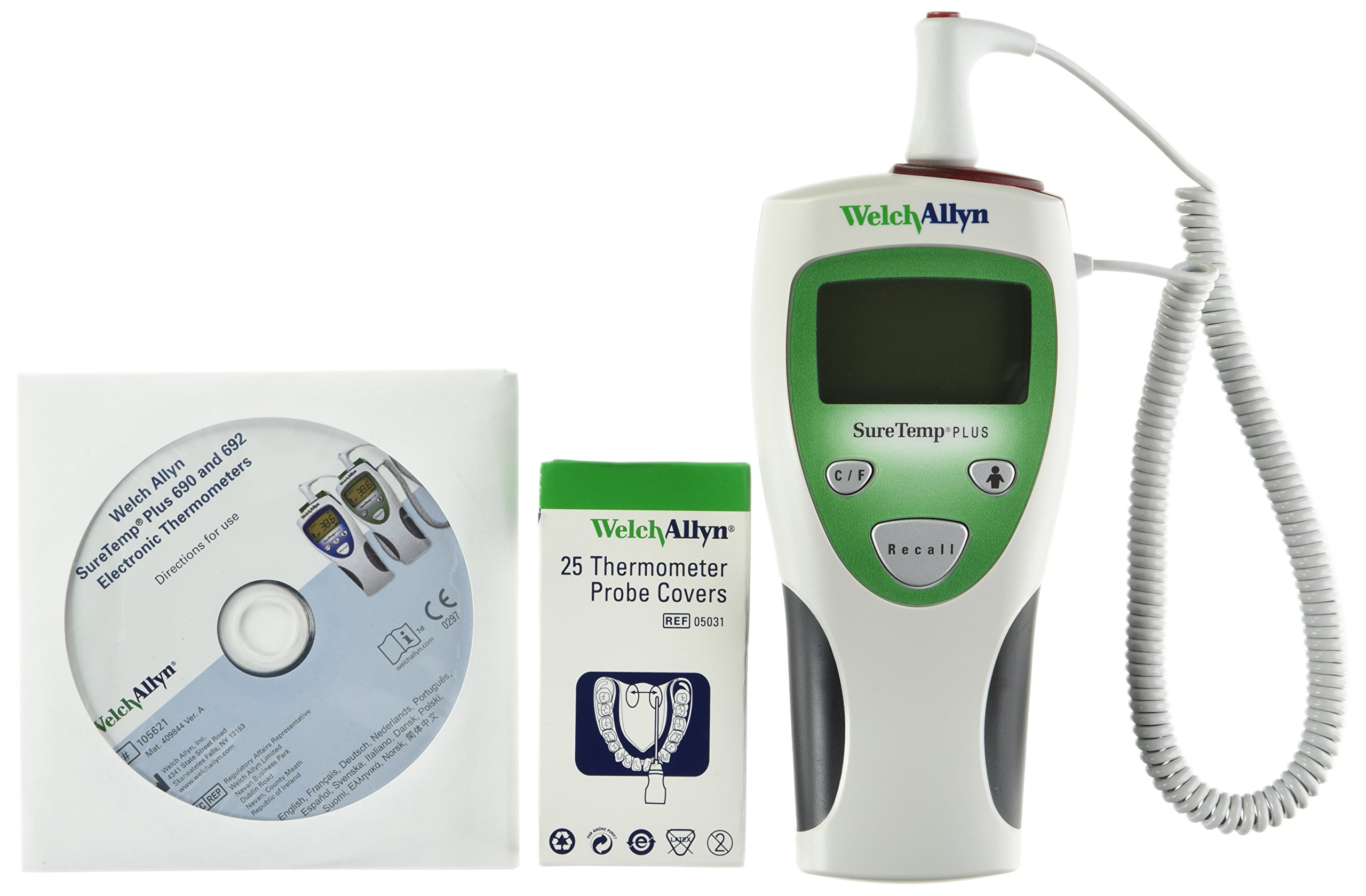 Welch Allyn 01690-201 SureTemp Plus 690 Electronic Thermometer, 4' Cord and Rectal Probe with Probe Well