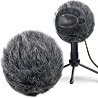 YOUSHARES Furry Windscreen Muff - Customized Pop Filter for Microphone, Deadcat Windshield Wind Cover for Improve Blue Snowball iCE Mic Audio Quality (Grey)
