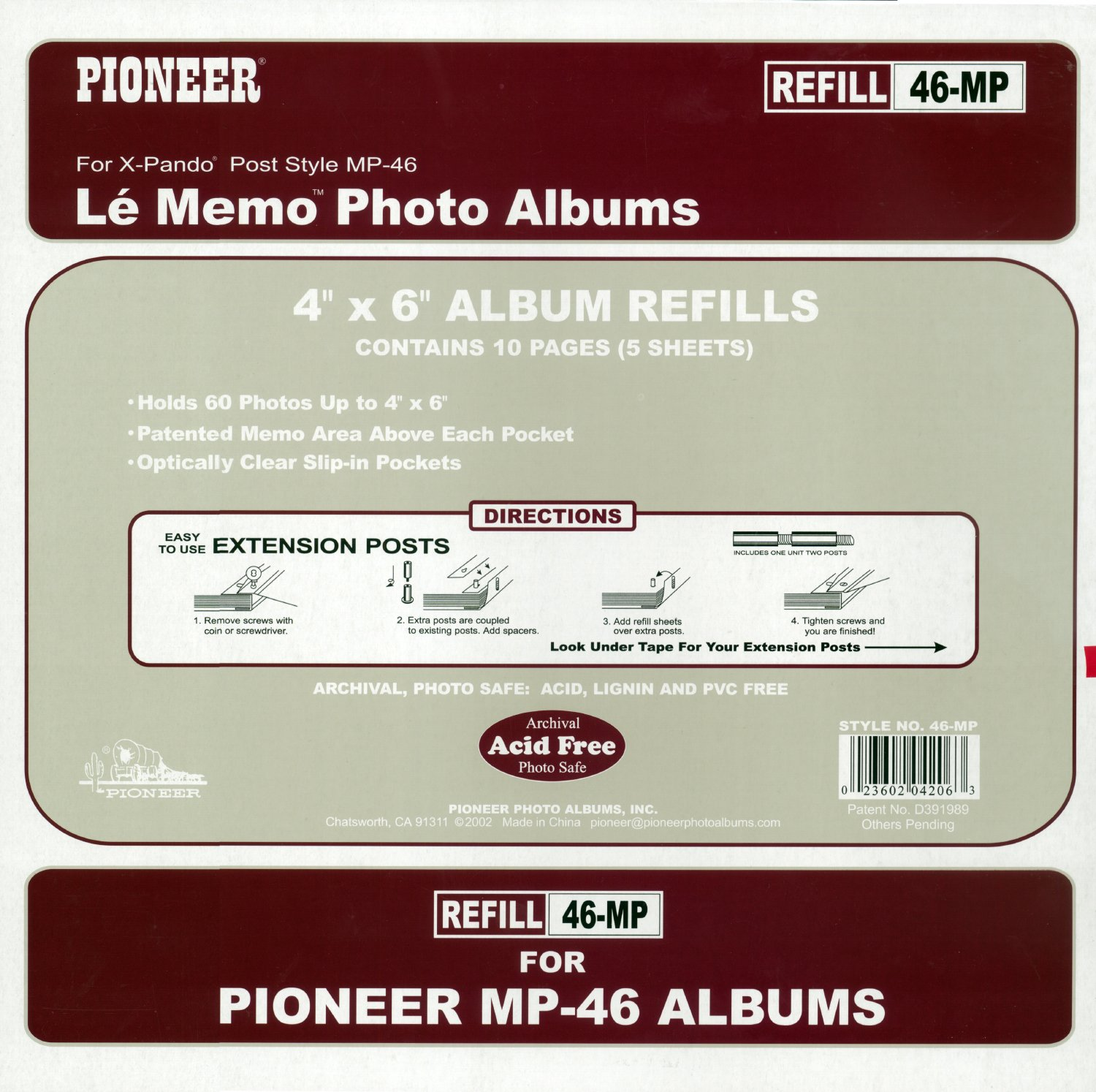 amazoncom pioneer memo pocket album refill 4 inch by 6 inch for mp 46 albums home improvement