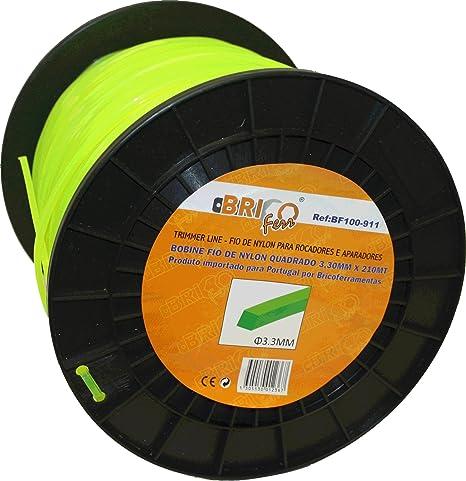 Bricoferr BF100-911 Hilo para desbrozadora (3,3 mm x 210 Metros, Cuadrado): Amazon.es: Bricolaje y herramientas