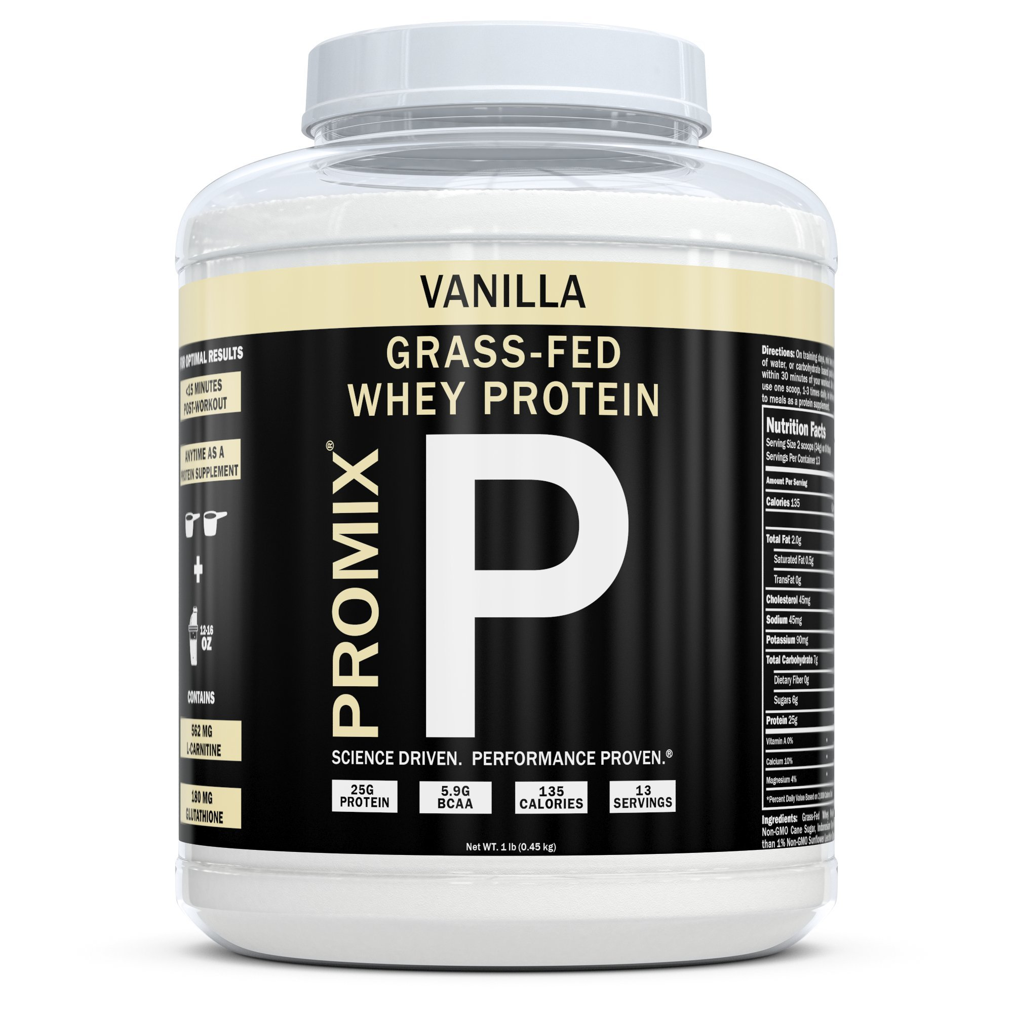 Performance Whey Protein Powder Concentrate - PROMIX Standard 100 Percent All Natural Grass Fed & Undenatured - Best for Optimum Fitness Nutrition Shakes & Energy Smoothie Bowls: Vanilla 1 lb Bulk