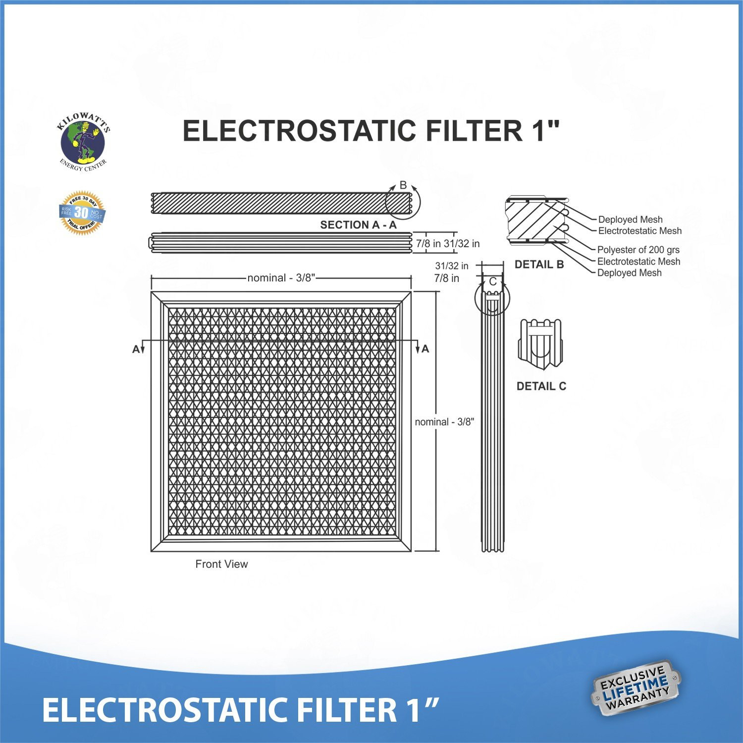 20x25x1 Lifetime Air Filter - Electrostatic Washable Permanent A/C Furnace Air Filter. by Kilowatts Energy Center (Image #6)