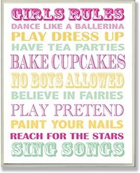 The Kids Room by Stupell Girls Rules Pink Yellow KIDTJ brp-1648 and Green Typography Rectangle Wall Plaque The Kids Room by Stupell