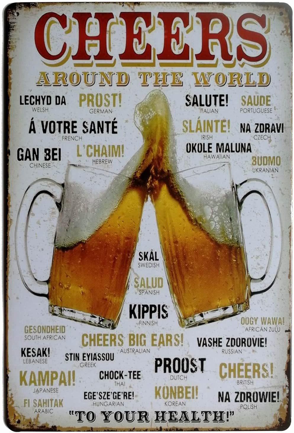 ERLOOD Cheers Around The World Drinking Distressed Metal Retro Wall Decor Vintage Tin Sign 8 x 12