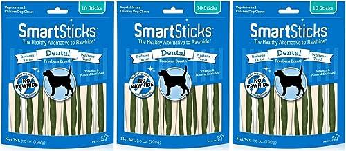 SmartBones 3 Pack No Rawhide Dental Smart Sticks, 10 Sticks Per Pack