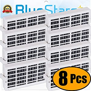 Ultra Durable W10311524 Refrigerator Air Filter Replacement Part by Blue Stars - Exact Fit For Whirlpool & KitchenAid Refrigerators - Replaces AIR1, W10315189, W10335147 - PACK OF 8