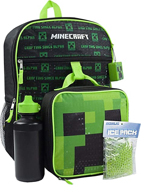 Minecraft Creeper Green Kids Backpack and Lunch Box School Set