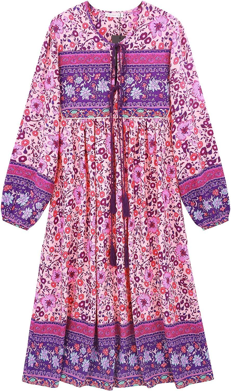 Vintage Style Dresses | Vintage Inspired Dresses R.Vivimos Womens Long Sleeve Floral Print Retro V Neck Tassel Bohemian Midi Dresses $29.99 AT vintagedancer.com