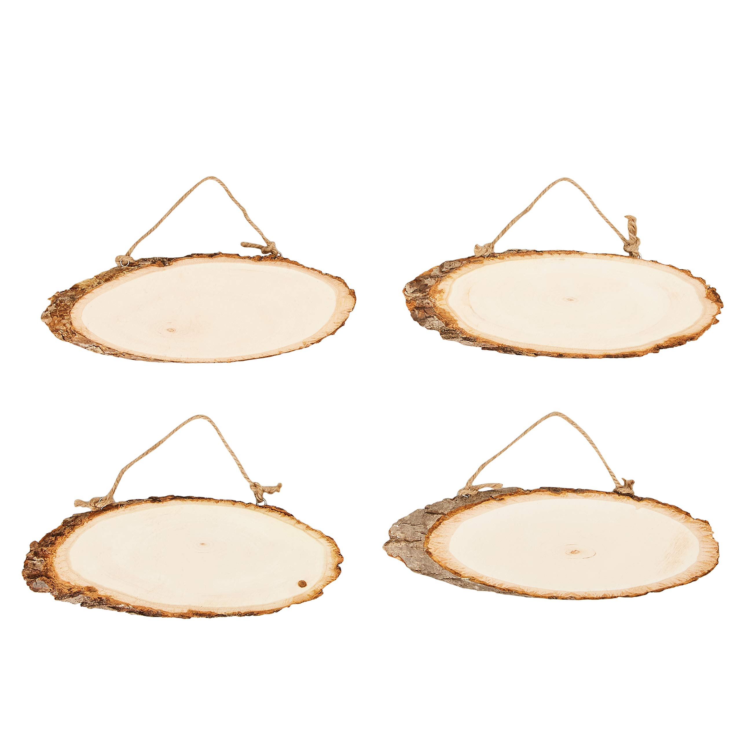 Juvale Unfinished Wood Signs - 4-Pack Hanging Wooden Plaques with Rope, Oval Wood Slices, Natural Wood Signs, Decorative Door Signs, Rustic Signs for Home Decor, DIY Projects, 11 x 5.2 x 0.5 Inches