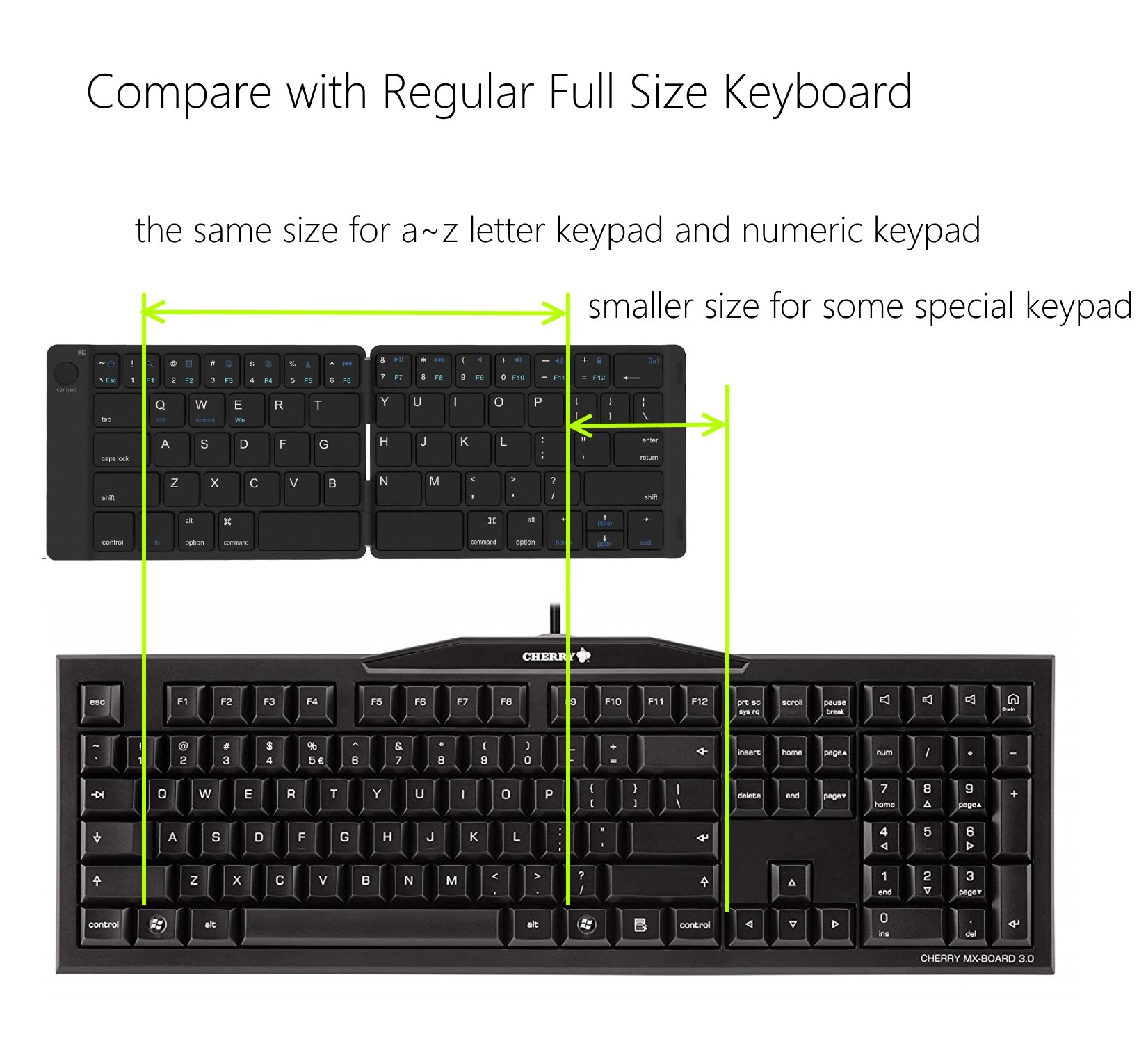Bluetooth Folding Keyboard Foldable Bluetooth Keyboard Rechargable Full Size Folable Keyboard for IOS Phone Android Smartphone Tablet Windows Laptop by Joyzy (Image #4)