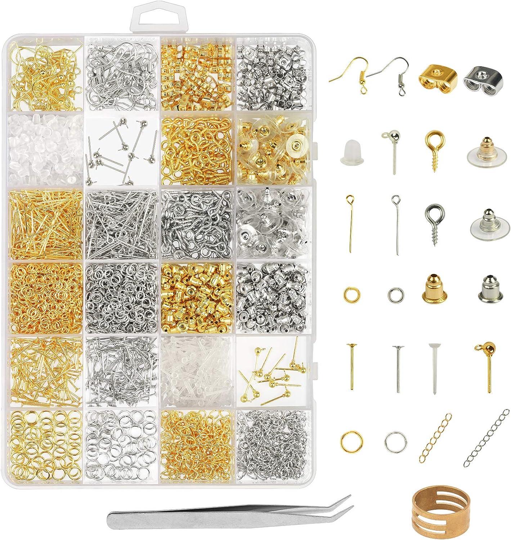 Accesorios de pendiente y bisutería metal ZoomSky 2418 pcs oro y plateado con tapones goma y ganchos para hacer artesanía y joyería especial en mano DIY como decoración regalo y recuerdo en cotidiano