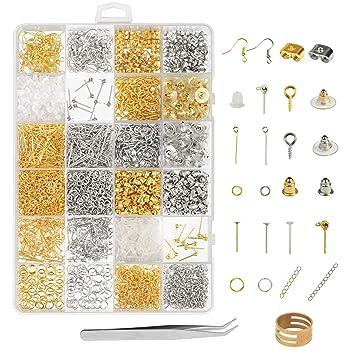 b3acd59f30e6 kit de pendiente de bisutería accesorio ZoomSky 2418 pcs para hacer  bisutería de pendiente de ganchos pendientes de tuerca de pendientes de  bala de tapones ...