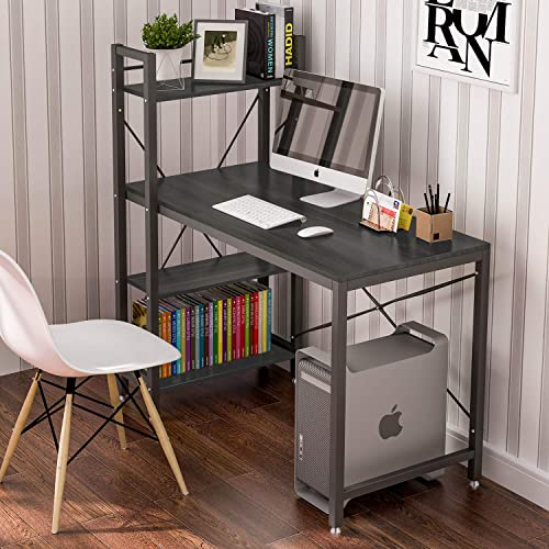 Tower Computer Desk with 4 Tire Shelves – 47.6 inch Wirting Study Table with Bookshelves Study Desk Modern Steel Frame Compact Wood Desk Home Office Workstation-Black