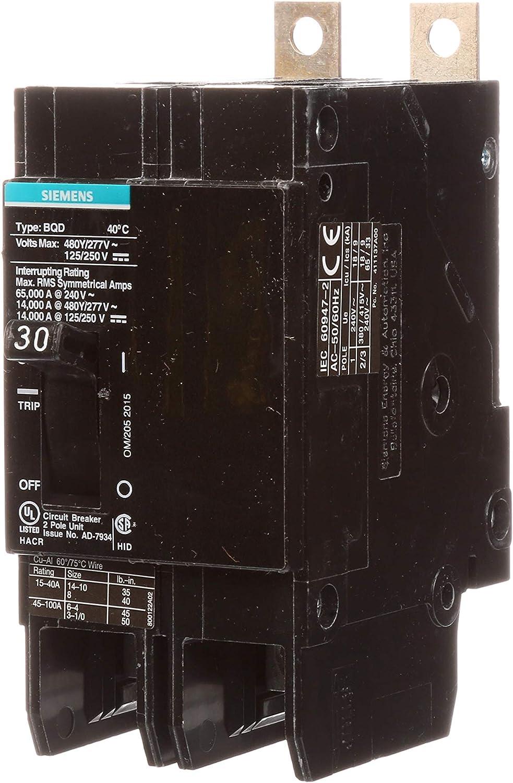Siemens BQD 2 pole 30 amp 480y//277v BQD230 Circuit Breaker